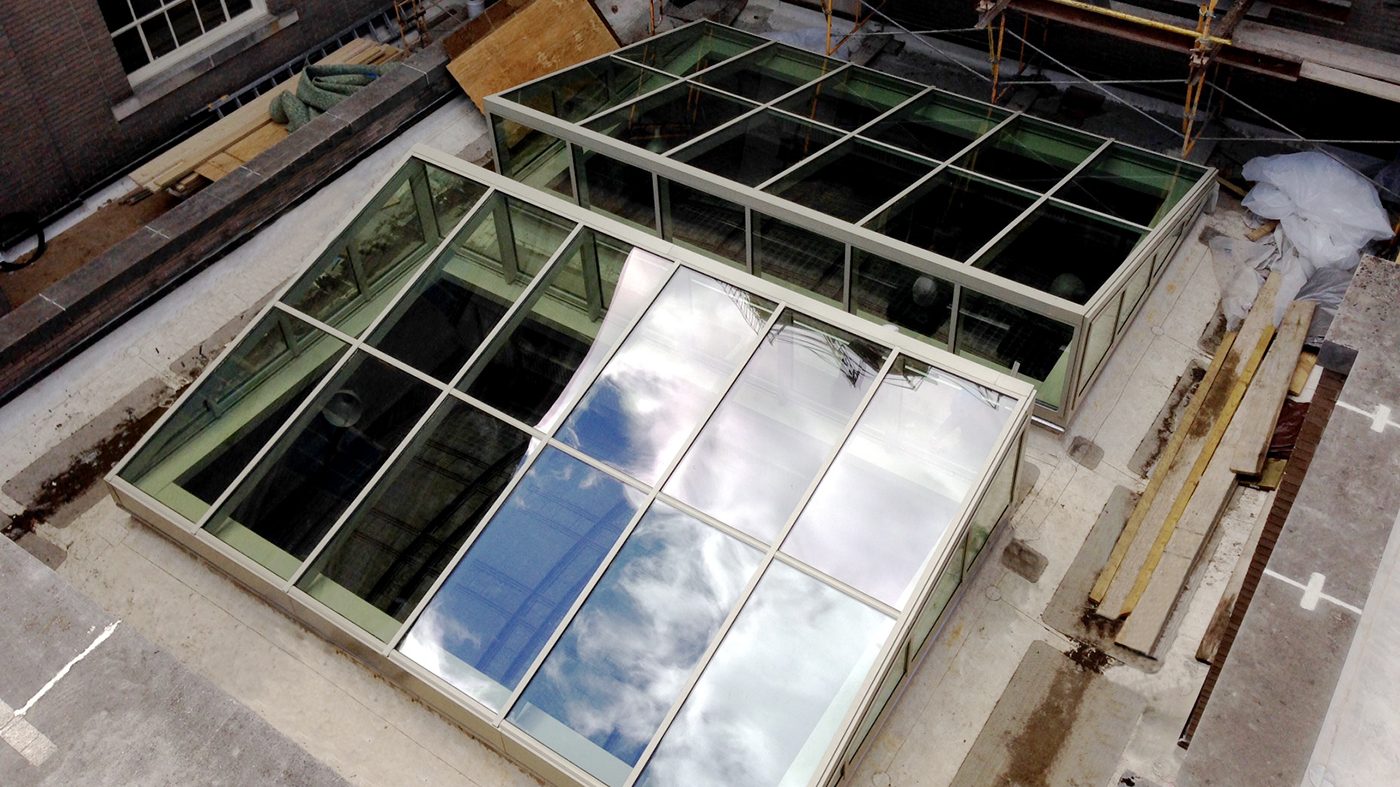 Straight eave lean to skylights