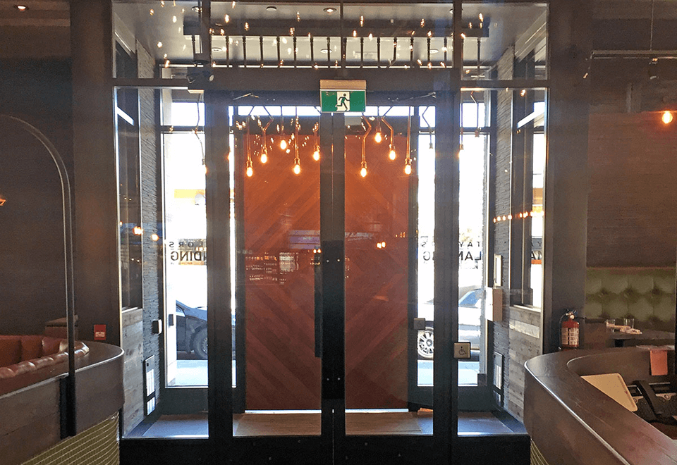 This restaurant application features our French doors. These French doors make an easy opening for heavy traffic.