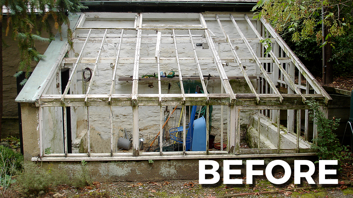 Straight eave lean-to greenhouse BEFORE