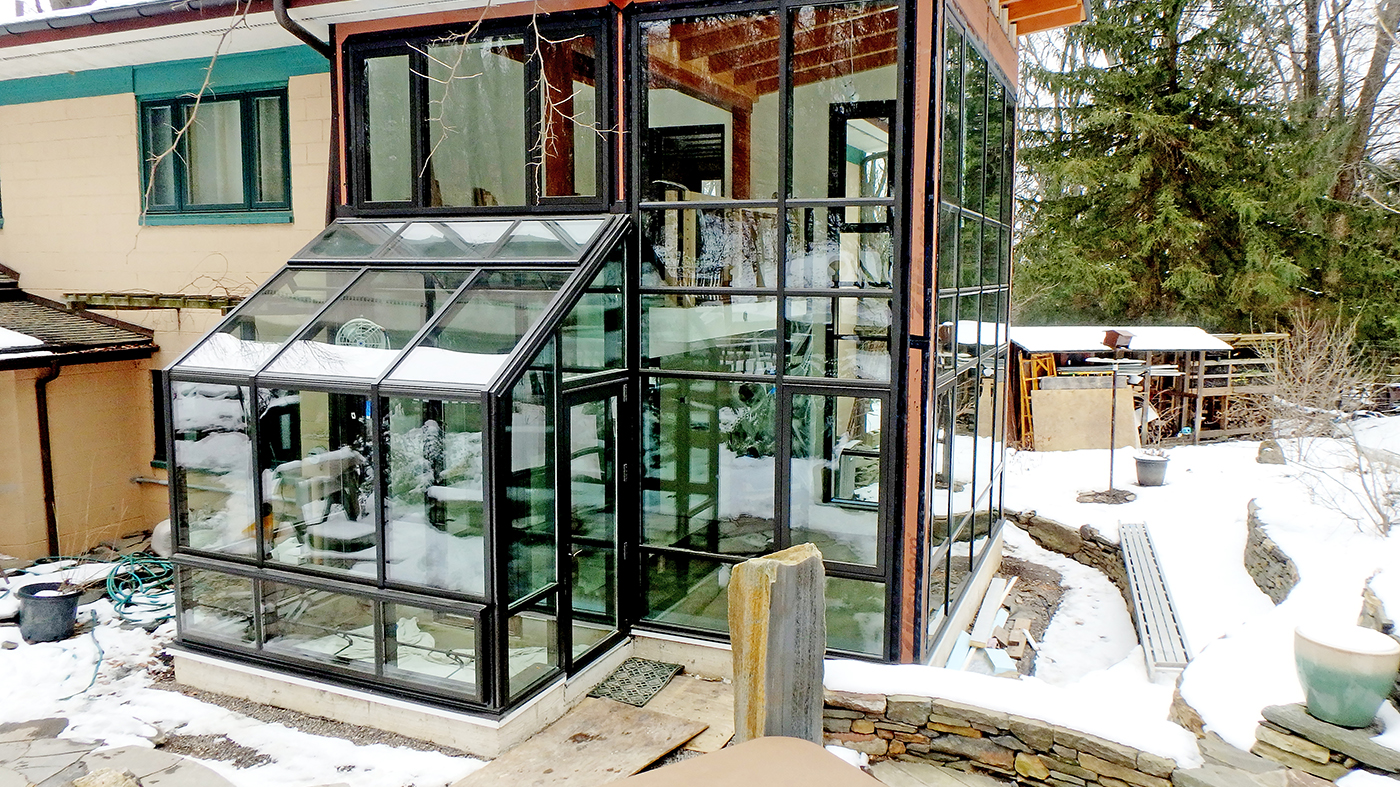 Swing door, casement window, straight eave lean to greenhouse and aluminum curtain wall
