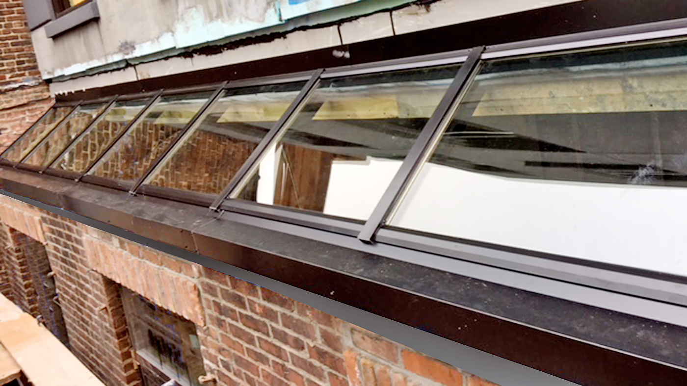 Straight eave single slop lean-to skylight