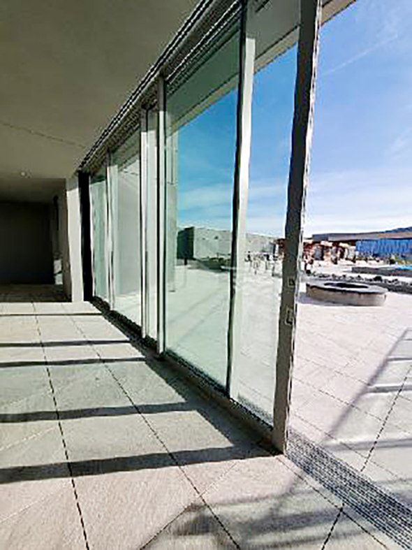 Nine Multi-track sliding glass doors