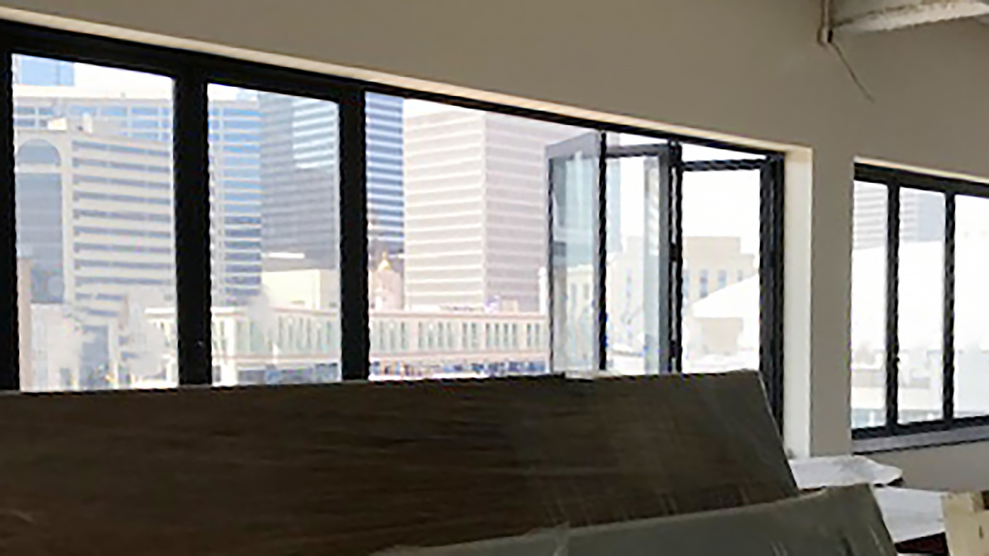 Folding Glass Windows and Clear Wall Slide and Stack System with Outswing Door