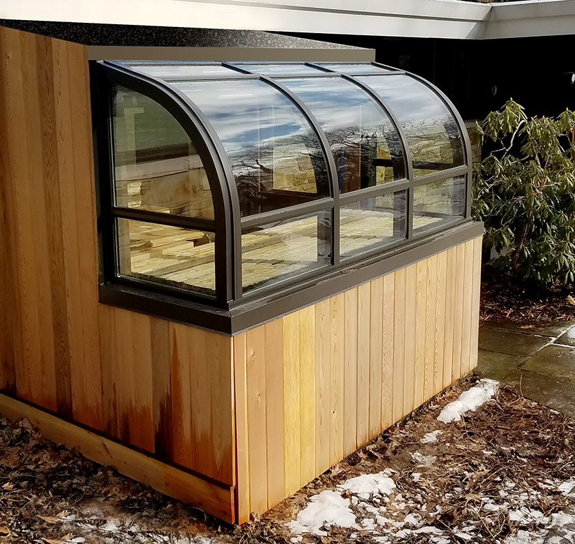 Curved eave lean-to greenhouse
