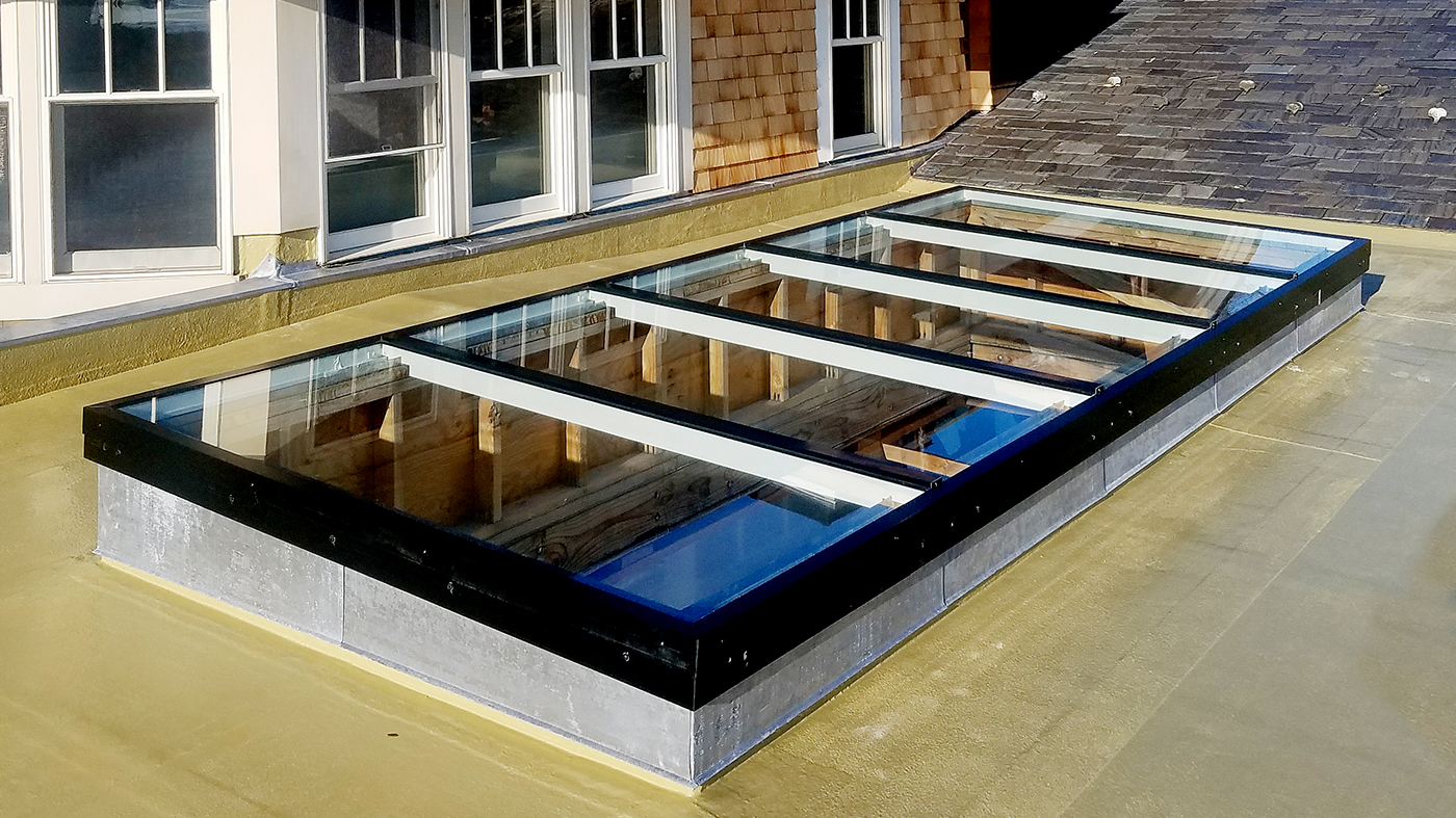 Single slope and straight eave double pitch, hip end skylight