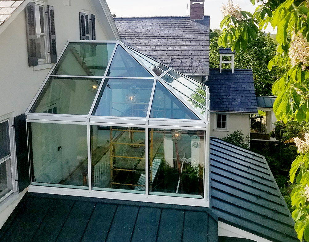 Straight Eave Double Pitch Hip End Skylight using our Flexible Glazing System