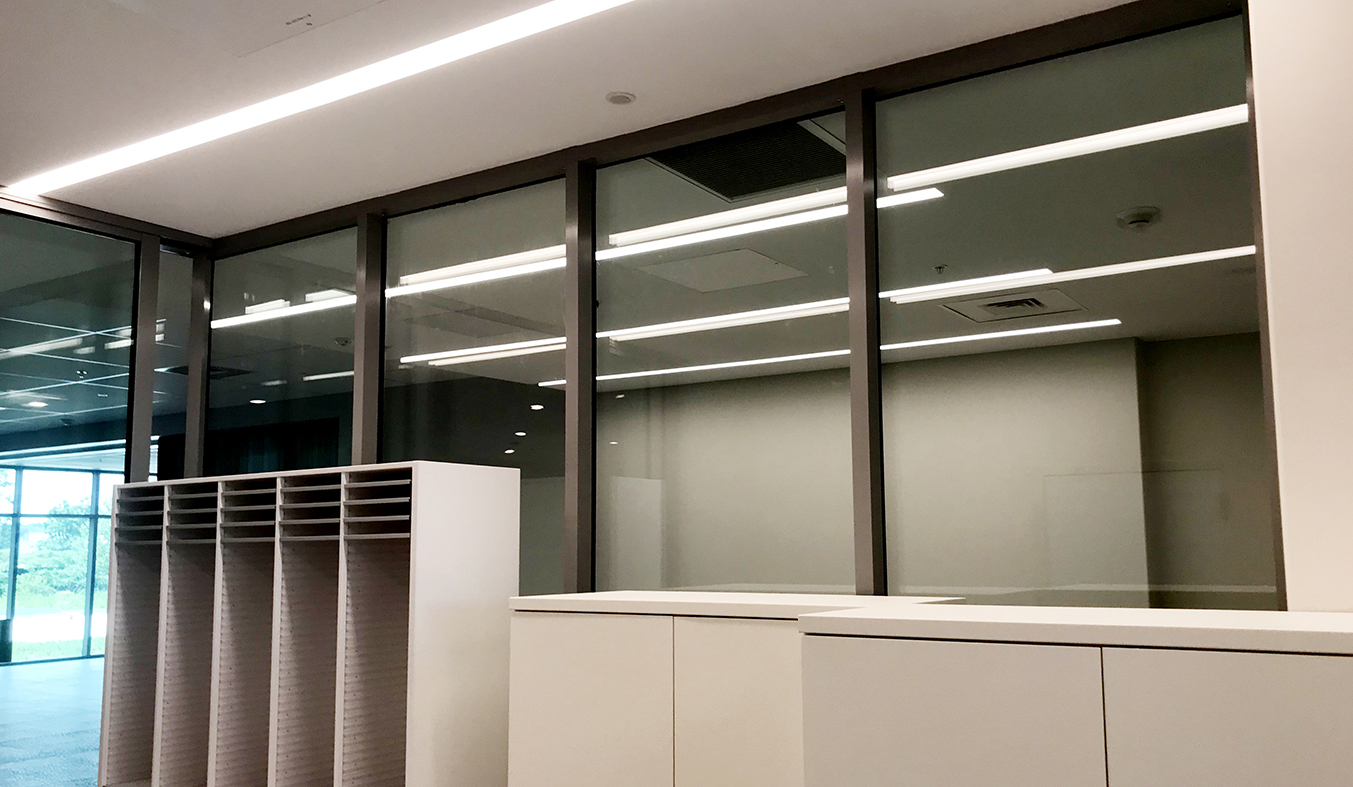 Aluminum curtain wall with integrated sliding glass doors