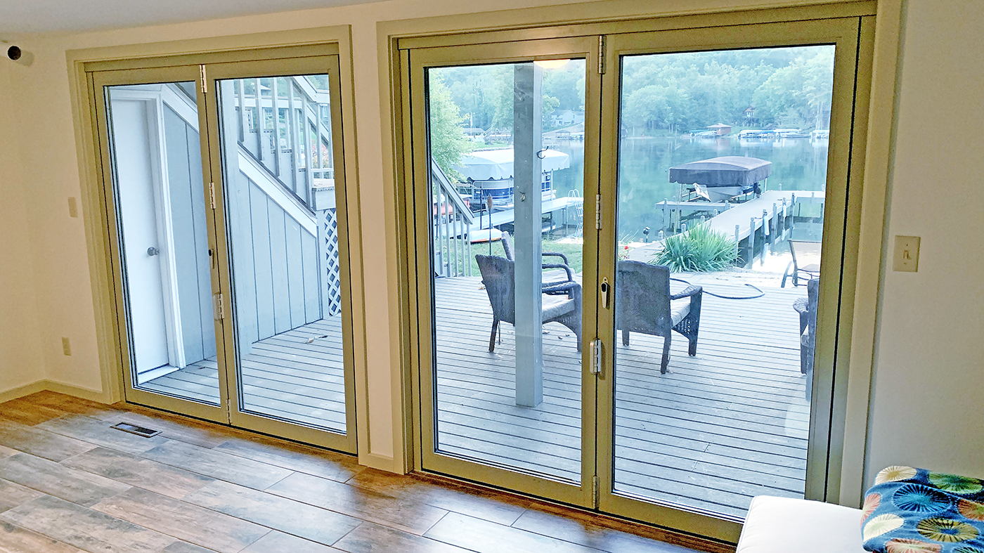 Two sets of two-panel bifold doors