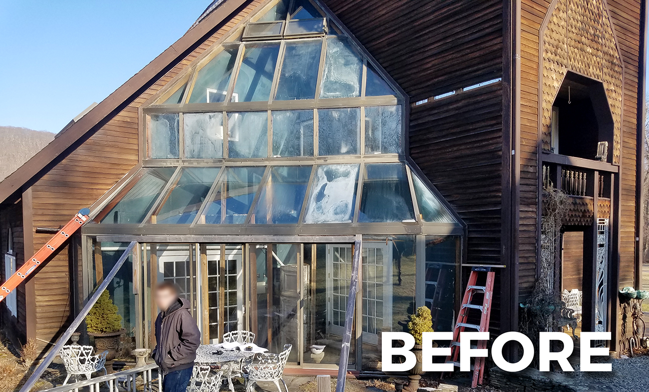 Straight eave stepped lean to sunroom BEFORE