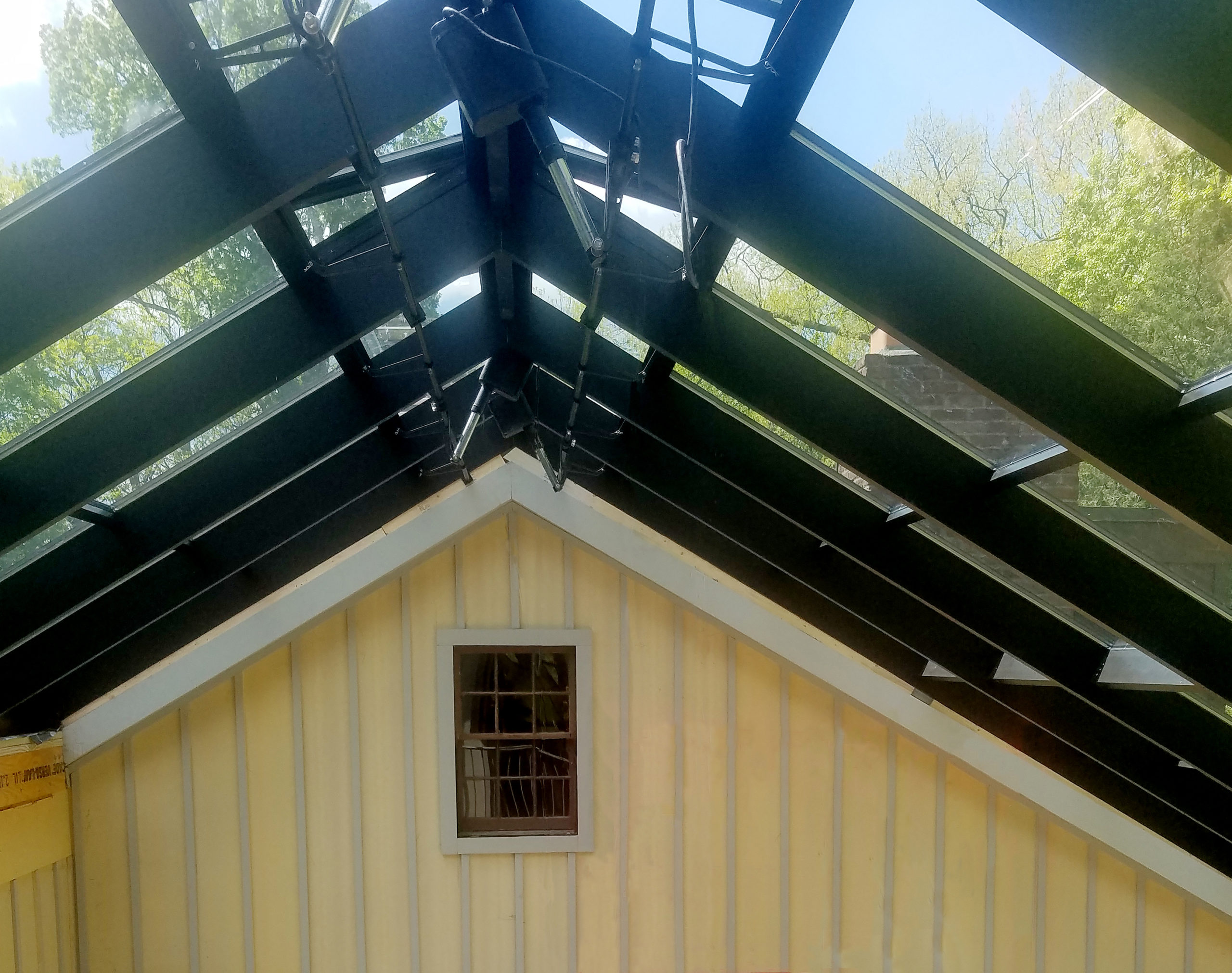 Straight eave double pitch sunroom with partial roof