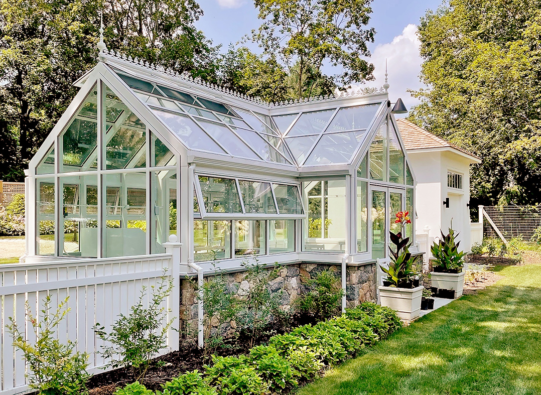 Straight eave double pitch greenhouse