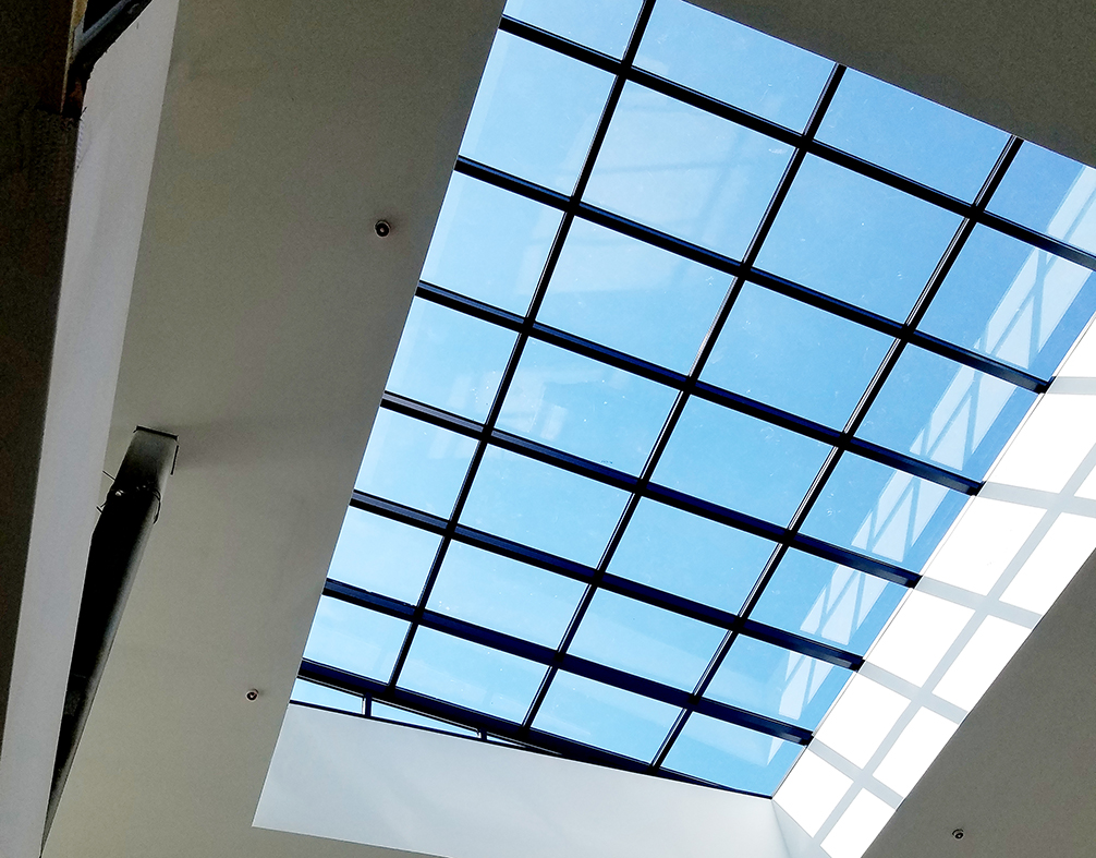 Two straight eave lean-to skylights, and one straight eave double pitch skylight