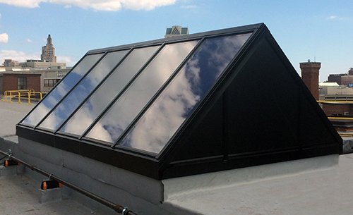 Solar installs straight eave double pitch skylight