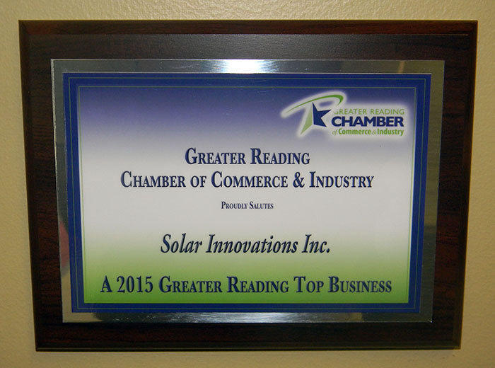 Top 50 Award, Greater Reading Chamber of Commerce, Solar number five