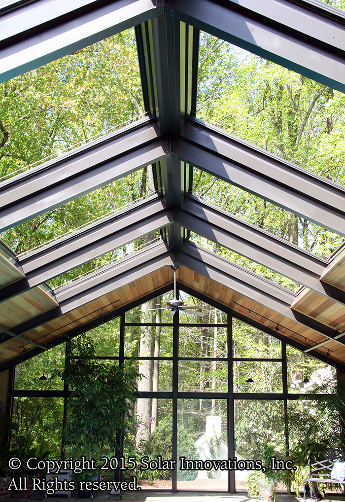 Retractable Roof Skylight or Greenhouse by Solar Innovations, Inc. for stargazing