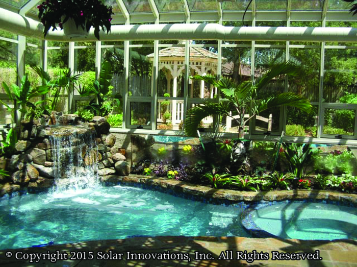This Tropical Oasis was created with the help of Solar Innovations, Inc. Glass structures