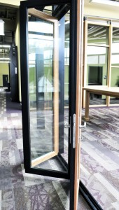 wood veneer vinyl-composite folding glass wall