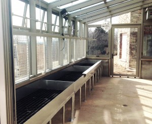 aluminum straight-eave lean-to greenhouse