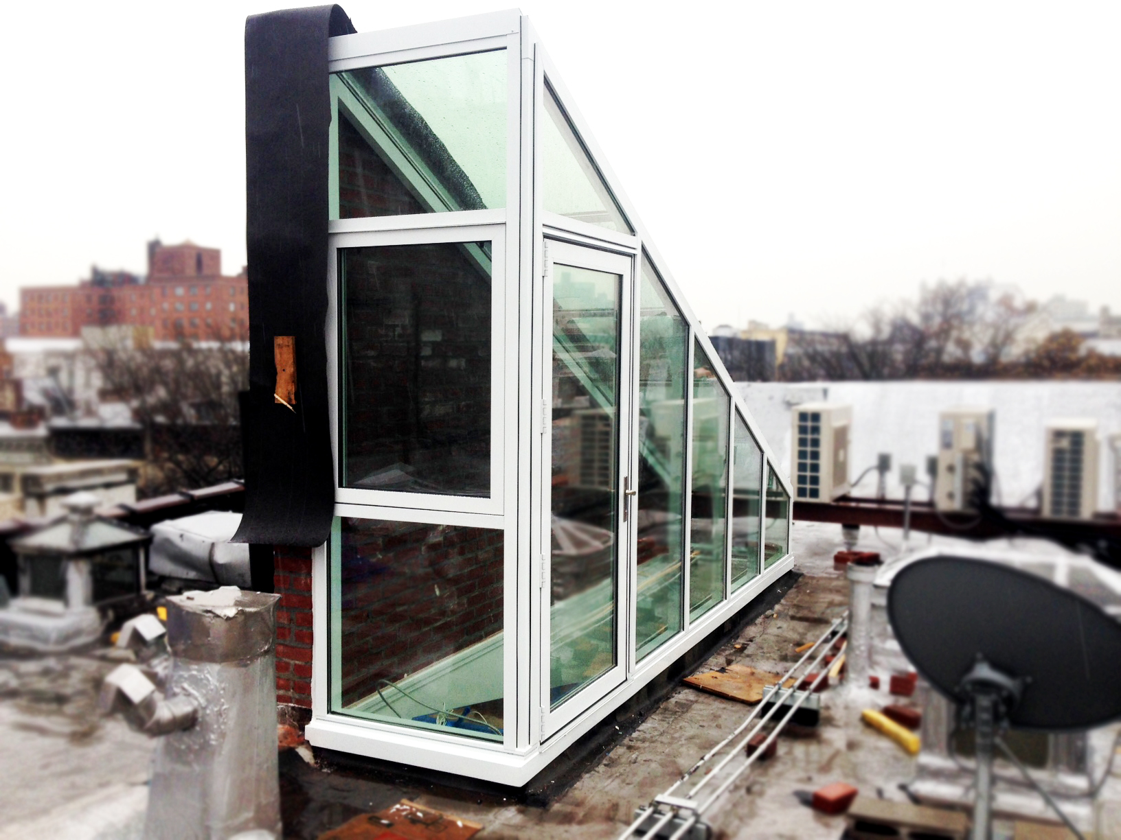 custom glass structure for rooftop access