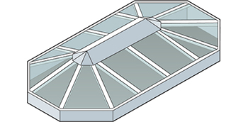 Straight Eave double Pitch Bullnose End Skylight Isometric Drawing