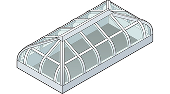 Curved Eave Hip End Skylight Isometric Drawing