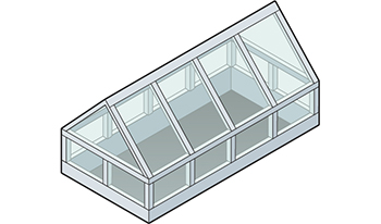Straight Eave Double Pitch Gable End Skylight Isometric Drawing
