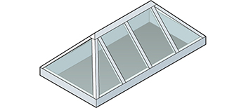 Straight Eave Double Pitch Hip End Skylight Isometric Drawing