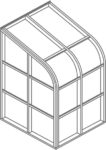 Curved eave lean to Isometric