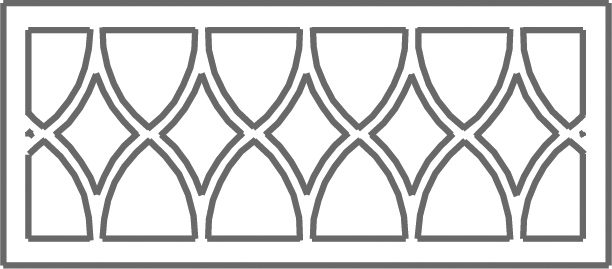 Pattern E etched transom