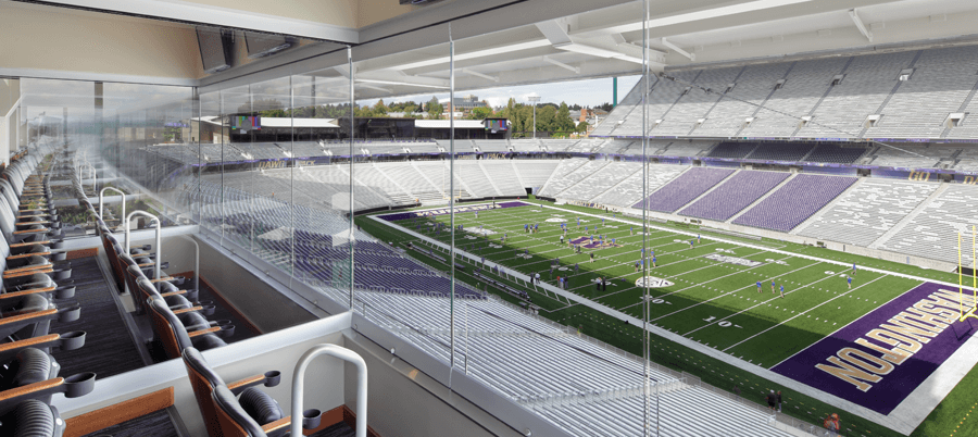Husky Stadium Clear Glass Wall Box Suite